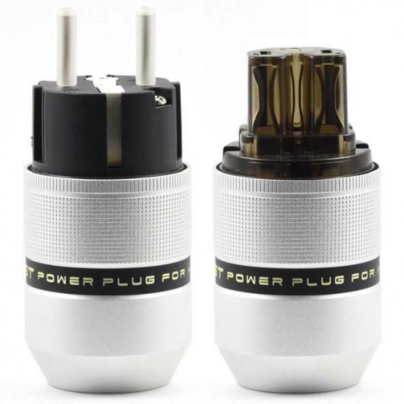 SonarQuest E25-Ag(D) & C25-Ag(D) Aluminum Alloy CRYO AG Silver Plated Audio Grade EU Schuko Power Plug Connector