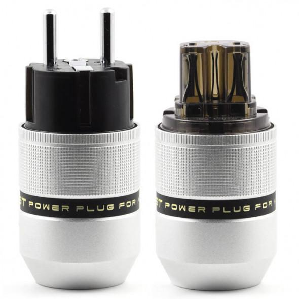 SonarQuest E25-R(D) & C25-R(D) Aluminum Alloy Rhodium Plated Series Audio Grade EU Schuko Power Plug Connector