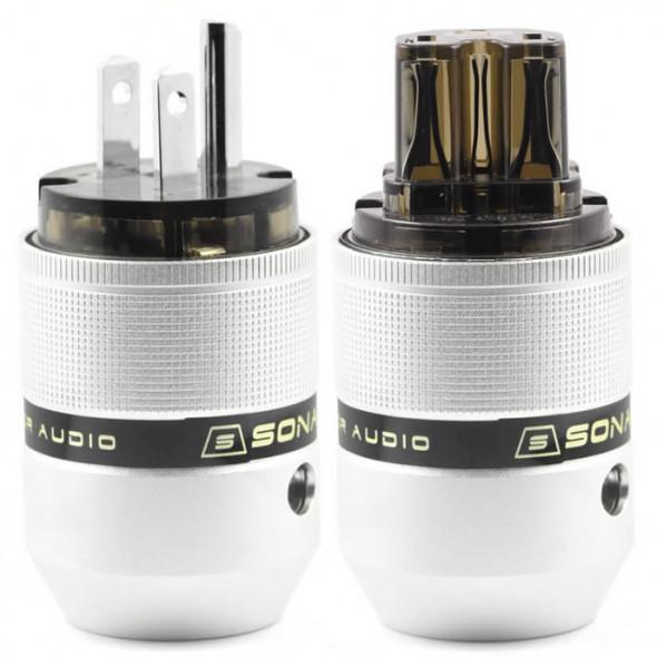 SonarQuest P25-P(D) & C25-R(D) Aluminum Alloy Rhodium Plated Audio Grade AC Power Plug Connector