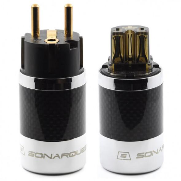 SonarQuest SQ-E39(G)D & SQ-C39(G)D Carbon Fiber Edition Gold Plated Series High End EU Schuko Power Plug Connector