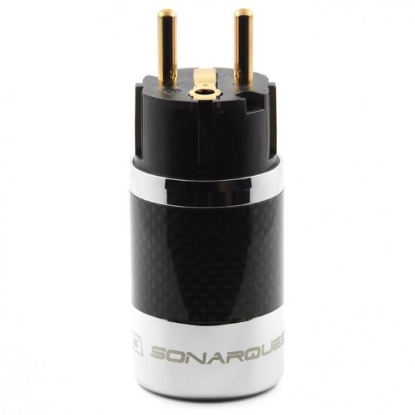 SonarQuest SQ-E39(G)D Carbon Fiber Edition Gold Plated Series High End EU Schuko Power Plug Connector