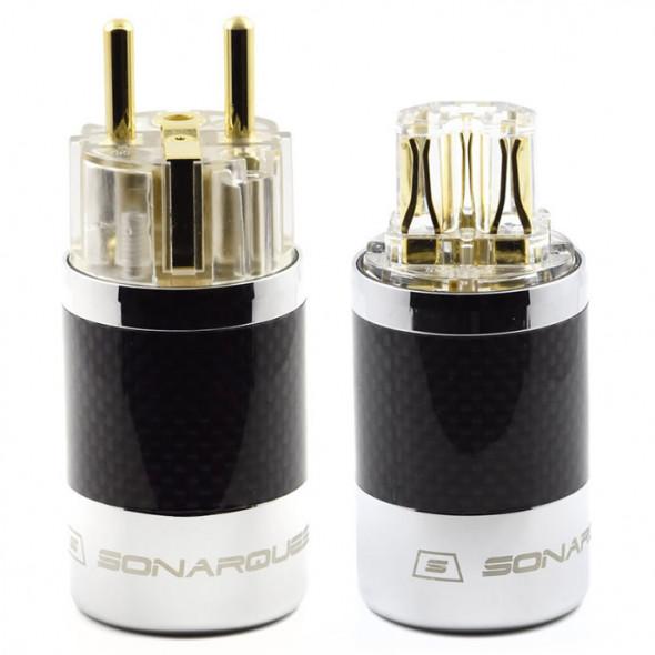 SonarQuest SQ-E39(G)T & SQ-C39(G)T Carbon Fiber Edition Gold Plated Series High End EU Schuko Power Plug Connector