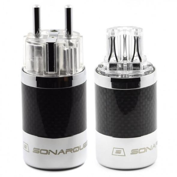 SonarQuest SQ-E39(R)T & SQ-C39(R)T Carbon Fiber Edition Rhodium Plated Series High End EU Schuko Power Plug Connector