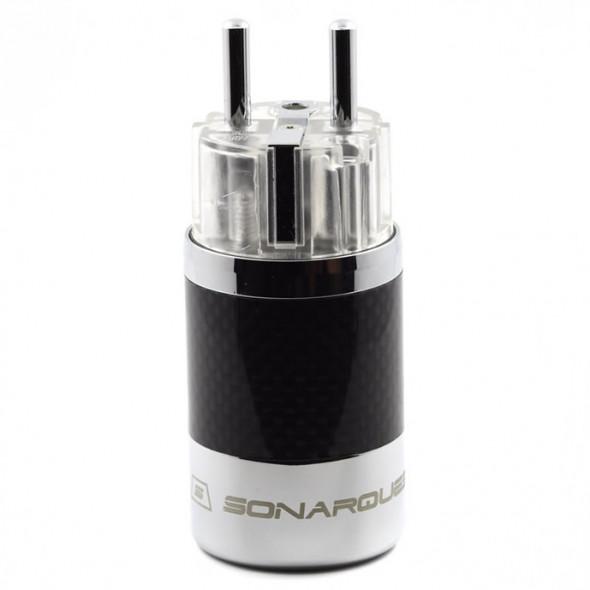 SonarQuest SQ-E39(R)T Carbon Fiber Edition Rhodium Plated Series High End EU Schuko Power Plug Connector