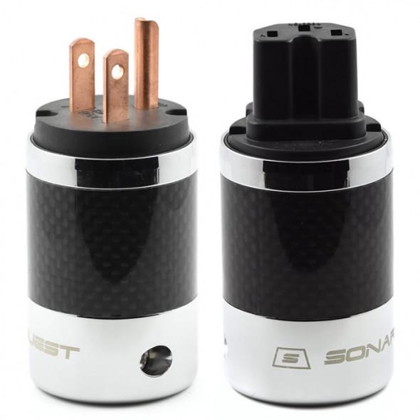 SonarQuest SQ-P39(C)B & SQ-C39(C)B Carbon Fiber Edition Red Copper Series High End AC Power Plug Connector
