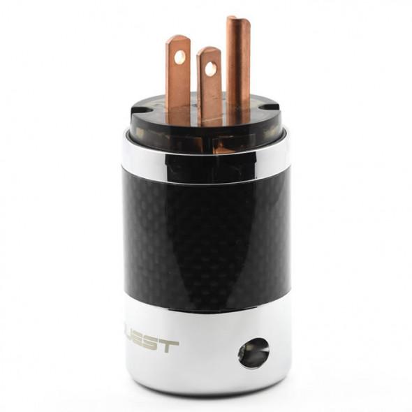 SonarQuest SQ-P39(C)D Carbon Fiber Edition Red Copper Series High End AC Power Plug Connector