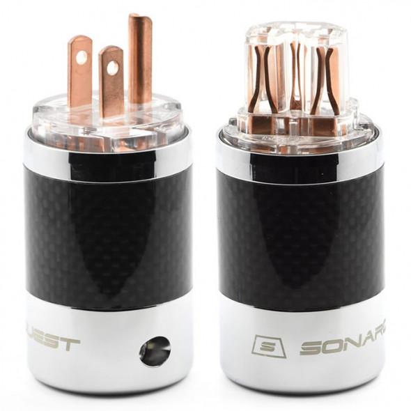 SonarQuest SQ-P39(C)T & SQ-C39(C)T Carbon Fiber Edition Red Copper Series High End AC Power Plug Connector