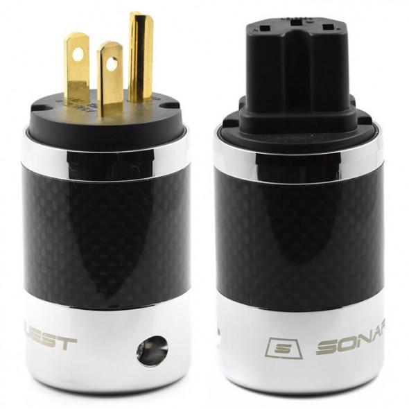 SonarQuest SQ-P39(G)B & SQ-C39(G)B Carbon Fiber Edition Gold Plated Series High End AC Power Plug Connector