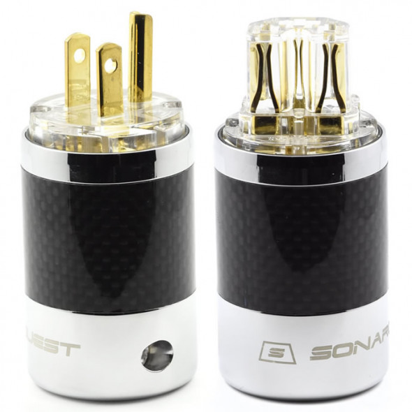 SonarQuest SQ-P39(G)T & SQ-C39(G)T Carbon Fiber Edition Gold Plated Series High End AC Power Plug Connector
