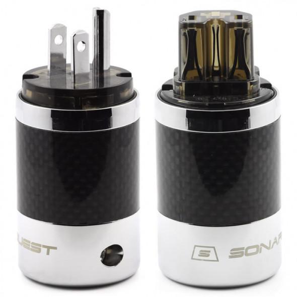 SonarQuest SQ-P39(R)D & SQ-C39(R)D Carbon Fiber Edition Rhodium Plated Series High End AC Power Plug Connector