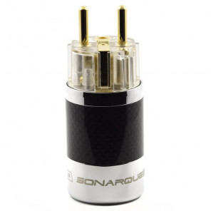 SonarQuest SQ-E39(G)T Carbon Fiber Edition Gold Plated Series High End EU Schuko Power Plug Connector