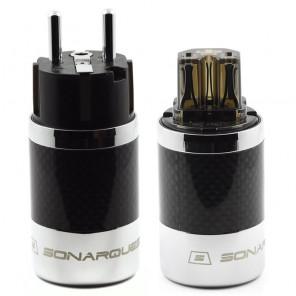 SonarQuest SQ-E39(R)D & SQ-C39(R)D Carbon Fiber Edition Rhodium Plated Series High End EU Schuko Power Plug Connector