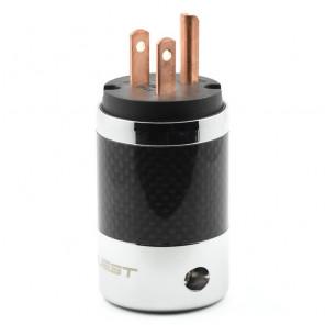 SonarQuest SQ-P39(C)B Carbon Fiber Edition Red Copper Series High End AC Power Plug Connector