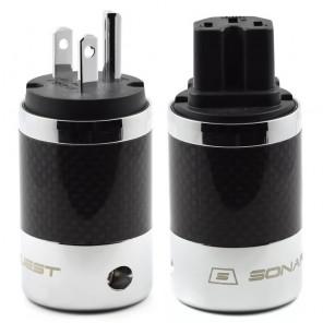 SonarQuest SQ-P39(R)B & SQ-C39(R)B Carbon Fiber Edition Rhodium Plated Series High End AC Power Plug Connector