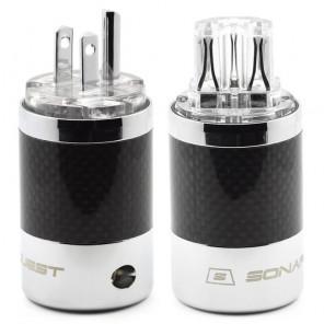 SonarQuest SQ-P39(R)T & SQ-C39(R)T Carbon Fiber Edition Rhodium Plated Series High End AC Power Plug Connector