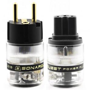 SonarQuest ST-GE(B) & ST-GC(B) Gold Plated Series Audio Grade EU Schuko Power Plug Connector